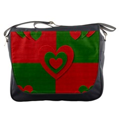 Christmas Fabric Hearts Love Red Messenger Bags