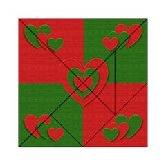 Christmas Fabric Hearts Love Red Acrylic Tangram Puzzle (6  x 6 )