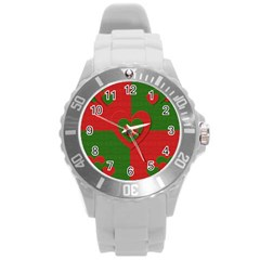 Christmas Fabric Hearts Love Red Round Plastic Sport Watch (l)