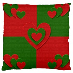 Christmas Fabric Hearts Love Red Large Cushion Case (Two Sides)
