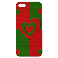 Christmas Fabric Hearts Love Red Apple Iphone 5 Hardshell Case