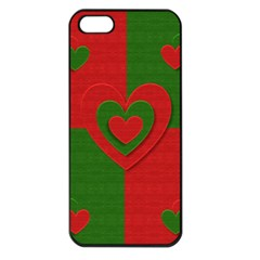Christmas Fabric Hearts Love Red Apple Iphone 5 Seamless Case (black)