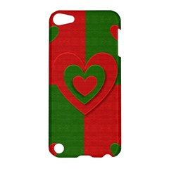 Christmas Fabric Hearts Love Red Apple Ipod Touch 5 Hardshell Case