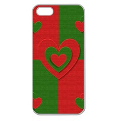 Christmas Fabric Hearts Love Red Apple Seamless iPhone 5 Case (Clear)