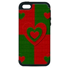 Christmas Fabric Hearts Love Red Apple Iphone 5 Hardshell Case (pc+silicone)