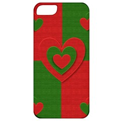 Christmas Fabric Hearts Love Red Apple Iphone 5 Classic Hardshell Case