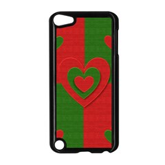 Christmas Fabric Hearts Love Red Apple Ipod Touch 5 Case (black)