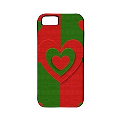 Christmas Fabric Hearts Love Red Apple iPhone 5 Classic Hardshell Case (PC+Silicone)