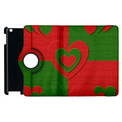 Christmas Fabric Hearts Love Red Apple iPad 2 Flip 360 Case