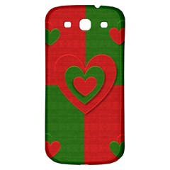 Christmas Fabric Hearts Love Red Samsung Galaxy S3 S Iii Classic Hardshell Back Case