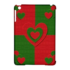 Christmas Fabric Hearts Love Red Apple Ipad Mini Hardshell Case (compatible With Smart Cover)