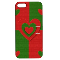 Christmas Fabric Hearts Love Red Apple iPhone 5 Hardshell Case with Stand