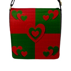 Christmas Fabric Hearts Love Red Flap Messenger Bag (l)