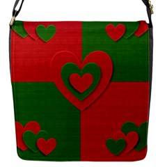 Christmas Fabric Hearts Love Red Flap Messenger Bag (s)