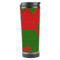 Christmas Fabric Hearts Love Red Travel Tumbler