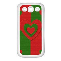 Christmas Fabric Hearts Love Red Samsung Galaxy S3 Back Case (white)