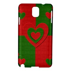 Christmas Fabric Hearts Love Red Samsung Galaxy Note 3 N9005 Hardshell Case