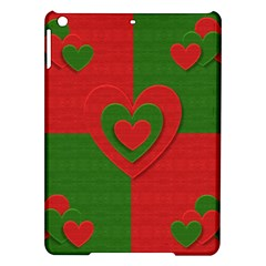 Christmas Fabric Hearts Love Red iPad Air Hardshell Cases