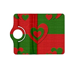 Christmas Fabric Hearts Love Red Kindle Fire Hd (2013) Flip 360 Case