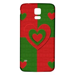 Christmas Fabric Hearts Love Red Samsung Galaxy S5 Back Case (white)