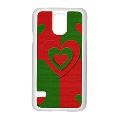 Christmas Fabric Hearts Love Red Samsung Galaxy S5 Case (white)
