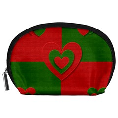 Christmas Fabric Hearts Love Red Accessory Pouches (large)