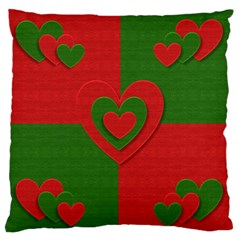 Christmas Fabric Hearts Love Red Large Flano Cushion Case (two Sides)