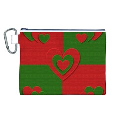 Christmas Fabric Hearts Love Red Canvas Cosmetic Bag (L)