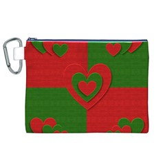 Christmas Fabric Hearts Love Red Canvas Cosmetic Bag (xl)