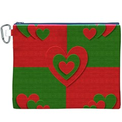 Christmas Fabric Hearts Love Red Canvas Cosmetic Bag (XXXL)