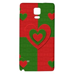 Christmas Fabric Hearts Love Red Galaxy Note 4 Back Case