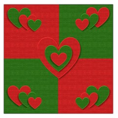 Christmas Fabric Hearts Love Red Large Satin Scarf (Square)