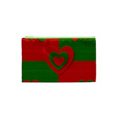 Christmas Fabric Hearts Love Red Cosmetic Bag (XS)