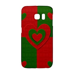 Christmas Fabric Hearts Love Red Galaxy S6 Edge