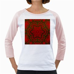 Christmas Kaleidoscope Art Pattern Girly Raglans