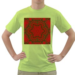 Christmas Kaleidoscope Art Pattern Green T-Shirt