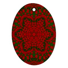 Christmas Kaleidoscope Art Pattern Oval Ornament (Two Sides)
