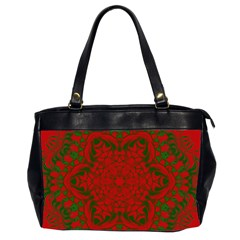 Christmas Kaleidoscope Art Pattern Office Handbags (2 Sides)
