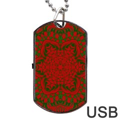 Christmas Kaleidoscope Art Pattern Dog Tag USB Flash (Two Sides)