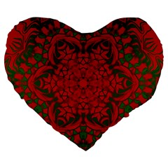 Christmas Kaleidoscope Art Pattern Large 19  Premium Heart Shape Cushions
