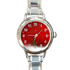 Christmas Modern Day Snow Star Red Round Italian Charm Watch