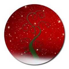 Christmas Modern Day Snow Star Red Round Mousepads