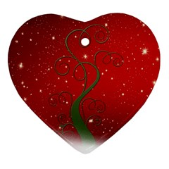 Christmas Modern Day Snow Star Red Ornament (heart)
