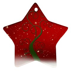 Christmas Modern Day Snow Star Red Ornament (Star)