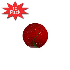Christmas Modern Day Snow Star Red 1  Mini Buttons (10 pack)