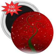 Christmas Modern Day Snow Star Red 3  Magnets (100 pack)