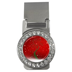 Christmas Modern Day Snow Star Red Money Clips (cz)