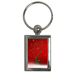 Christmas Modern Day Snow Star Red Key Chains (Rectangle)