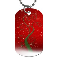 Christmas Modern Day Snow Star Red Dog Tag (two Sides)