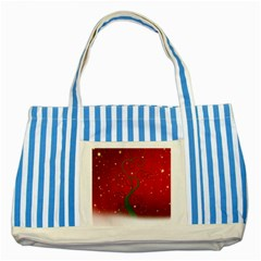 Christmas Modern Day Snow Star Red Striped Blue Tote Bag